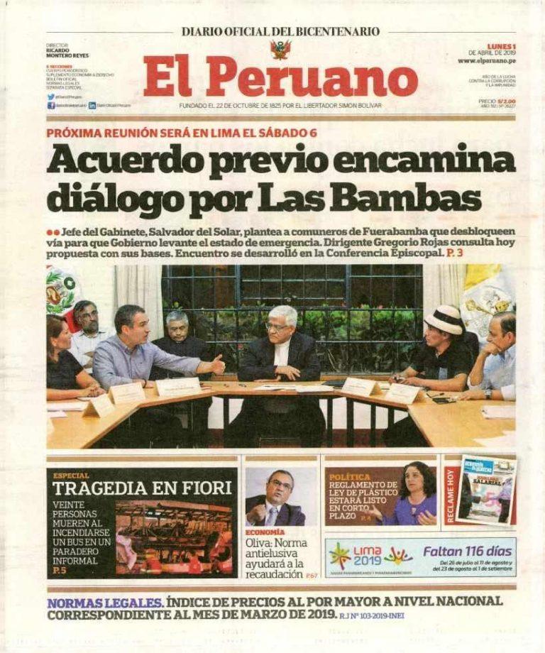 El Peruano: Acuerdo previo encamina diálogo por Las Bambas