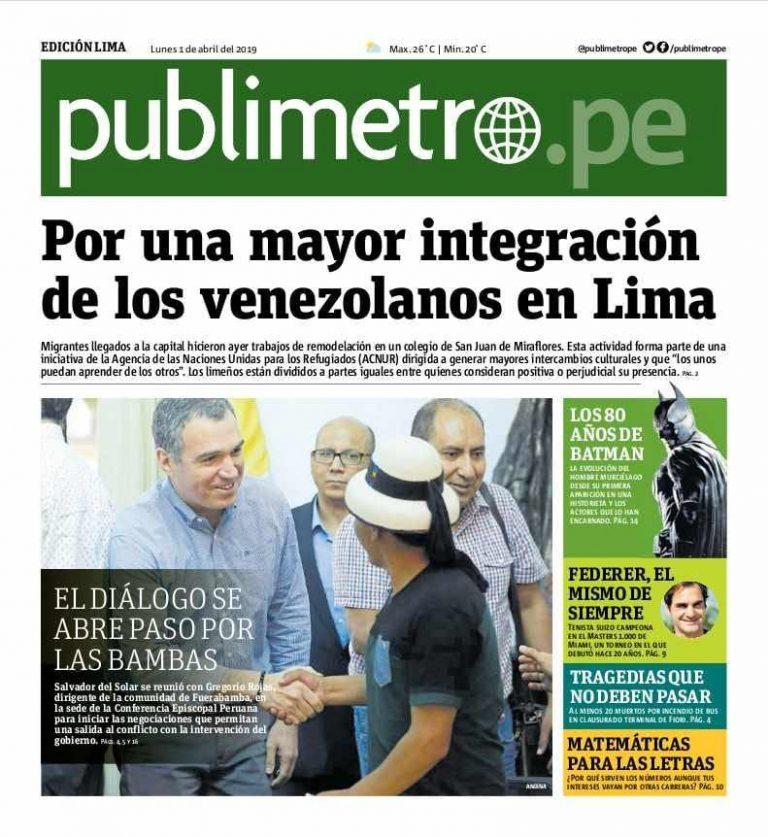 Diario Publimetro: El diálogo se abre paso por Las Bambas