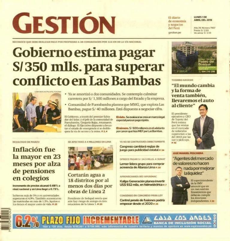 Diario Gestión: Gobierno estima pagar S/350 mlls. para superar conflicto en Las Bambas
